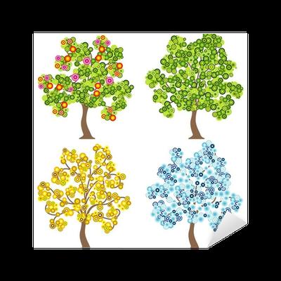 Aufkleber Vier jahreszeiten baum u2022 Pixers® - Wir leben, um zu verändern - Baum Vier Jahreszeiten PNG