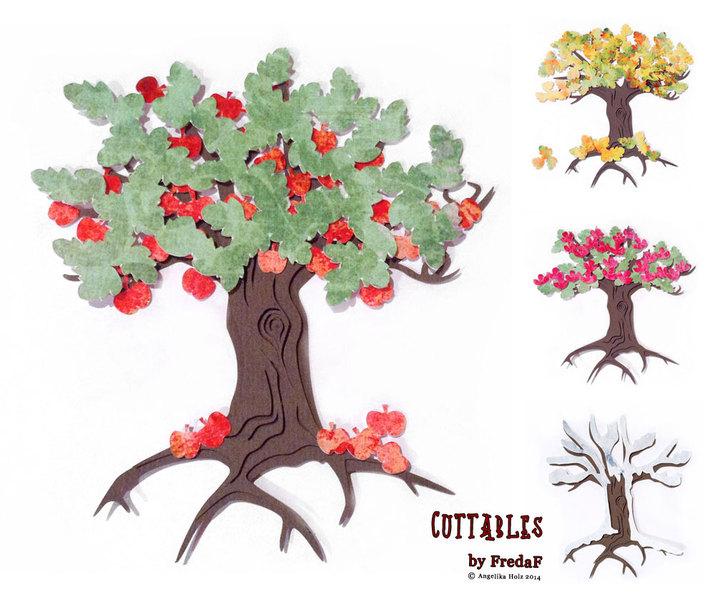 DIY 4 Jahreszeiten Bäume svg dxf Schneidedateien - Baum Vier Jahreszeiten PNG