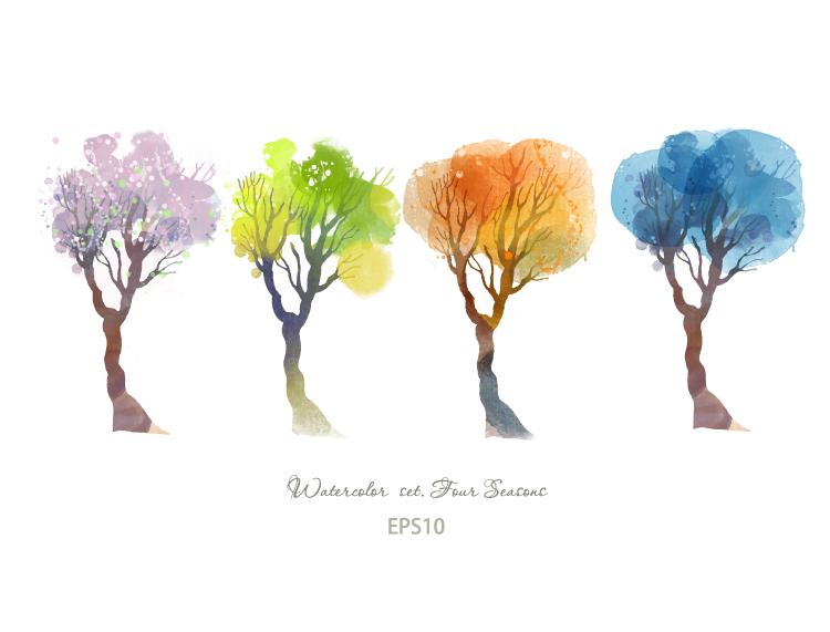 vier Jahreszeiten Aquarell Bäume - Baum Vier Jahreszeiten PNG