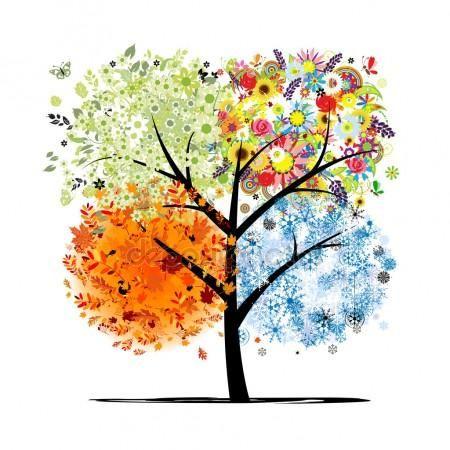 Vier Jahreszeiten - Frühling, Sommer, Herbst, Winter. Kunst Baum schön für  Ihr - Baum Vier Jahreszeiten PNG