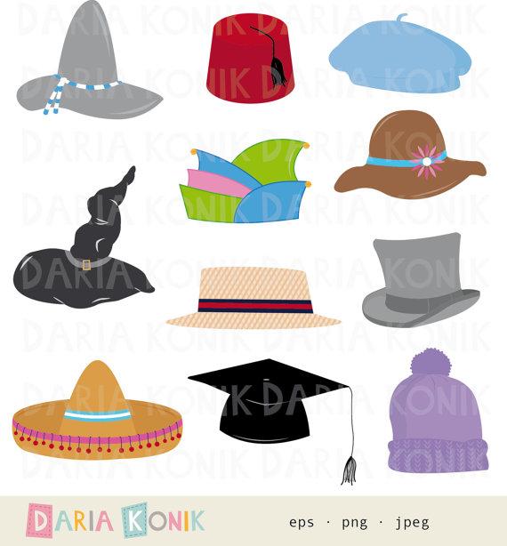 Hüte Clip Art Set-Sombrero, Fez, Baskenmütze, Doktorhut, bayrischer Hut,  Narrenkappe, eps, png, jpeg, instant download - Bayrischer Hut PNG