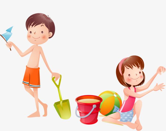 beach child, Sandy Beach, Boy, Girl PNG and PSD - Beach Boy PNG