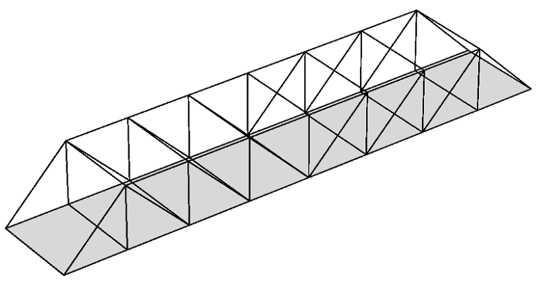 A Pratt truss bridge model geometry created with the Beam and Shell  interfaces. - Beam Bridge PNG