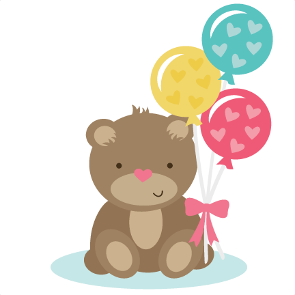 Bear Holding Balloons SVG files for scrapbooking cardmaking cute svg cuts  free svgs free svg cuts - Bear Cute PNG