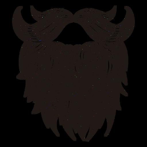 Illustrated hipster moustache beard - Beard PNG