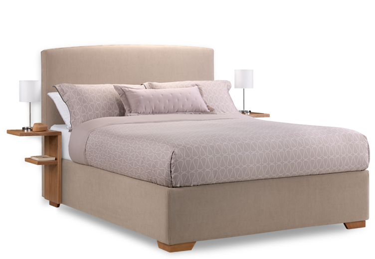 Cream Fabric Max Storage Bed with Bedside Tables - Bed HD PNG