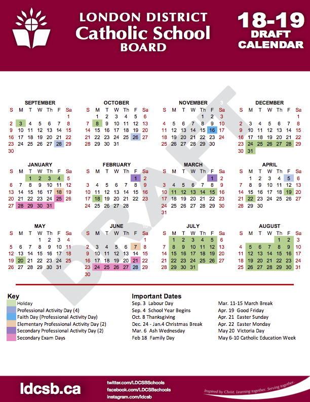 18-19 LDCSB Draft Calendar.png - Beginning Of School Year PNG