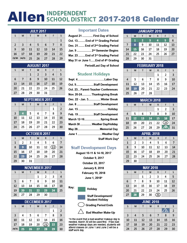 2017-2018 Calendar - Beginning Of School Year PNG