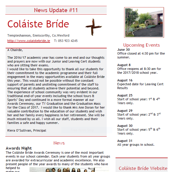 Copyright © 2015 Coláiste Bríde Secondary School, Enniscorthy. All Rights  Reserved Website Privacy - Beginning Of School Year PNG