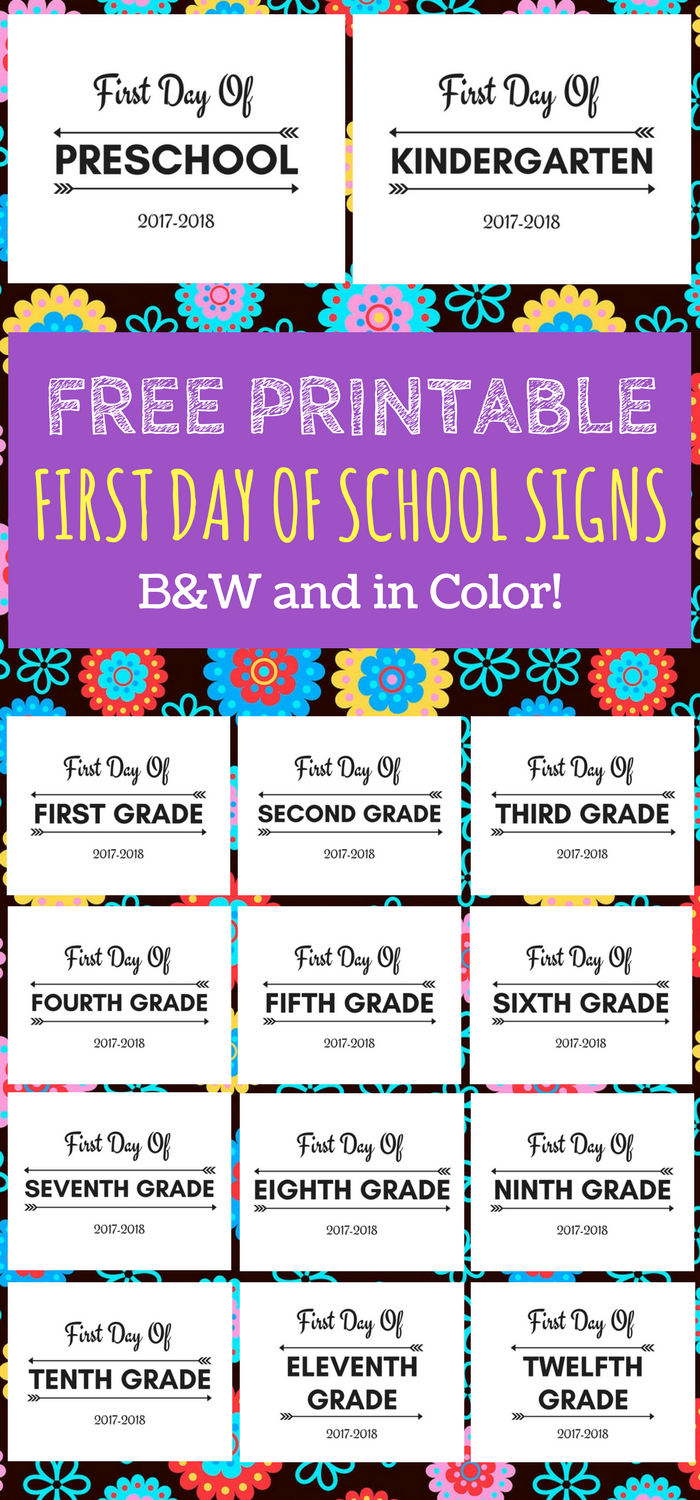 First Day of School Printable FREE 2017-2018 school year - Beginning Of School Year PNG