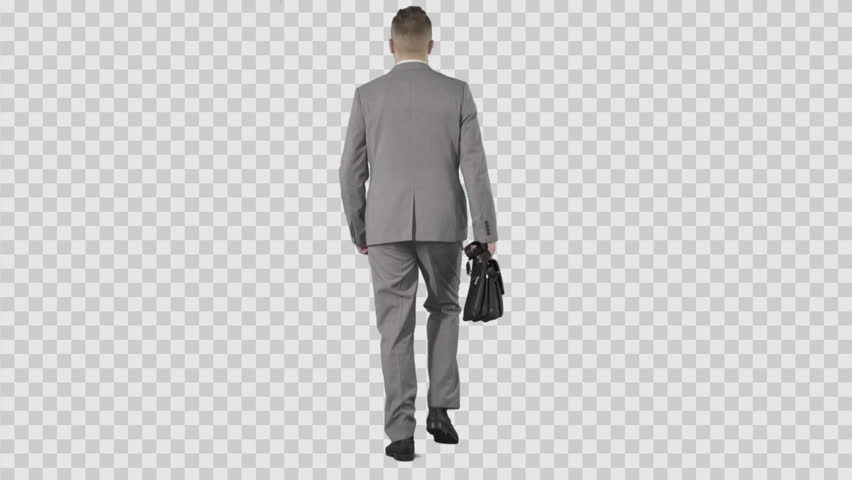 Business Man In Gray Suit Walking From The Camera. Lens 85 Mm. Camera Is - Behind Girl PNG