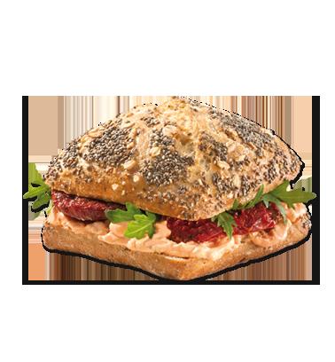 Chia-Brötchen Tomate vegan - Belegtes Brot PNG