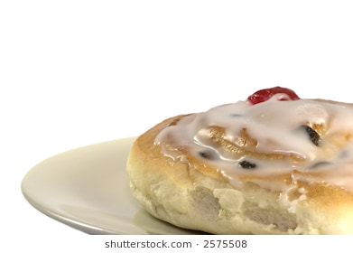 Belgian bun isolated on white and framed in the lower right to allow space  for copy - Belgian Bun PNG