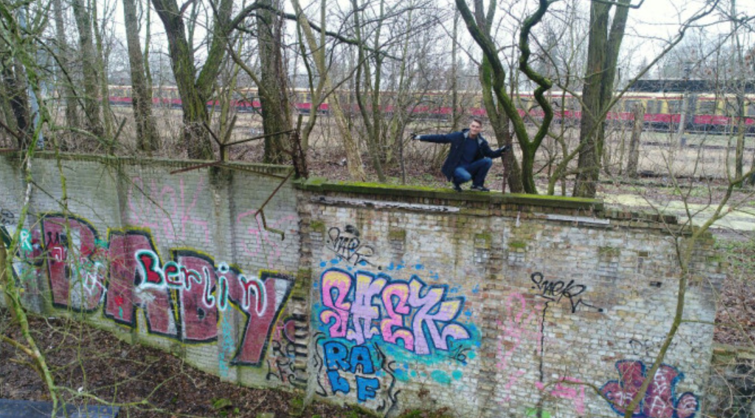 Christian Bormann from Germany has found 80 metres of the Berlin Wall.  Image: Christian Bormann - Berlin Wall PNG