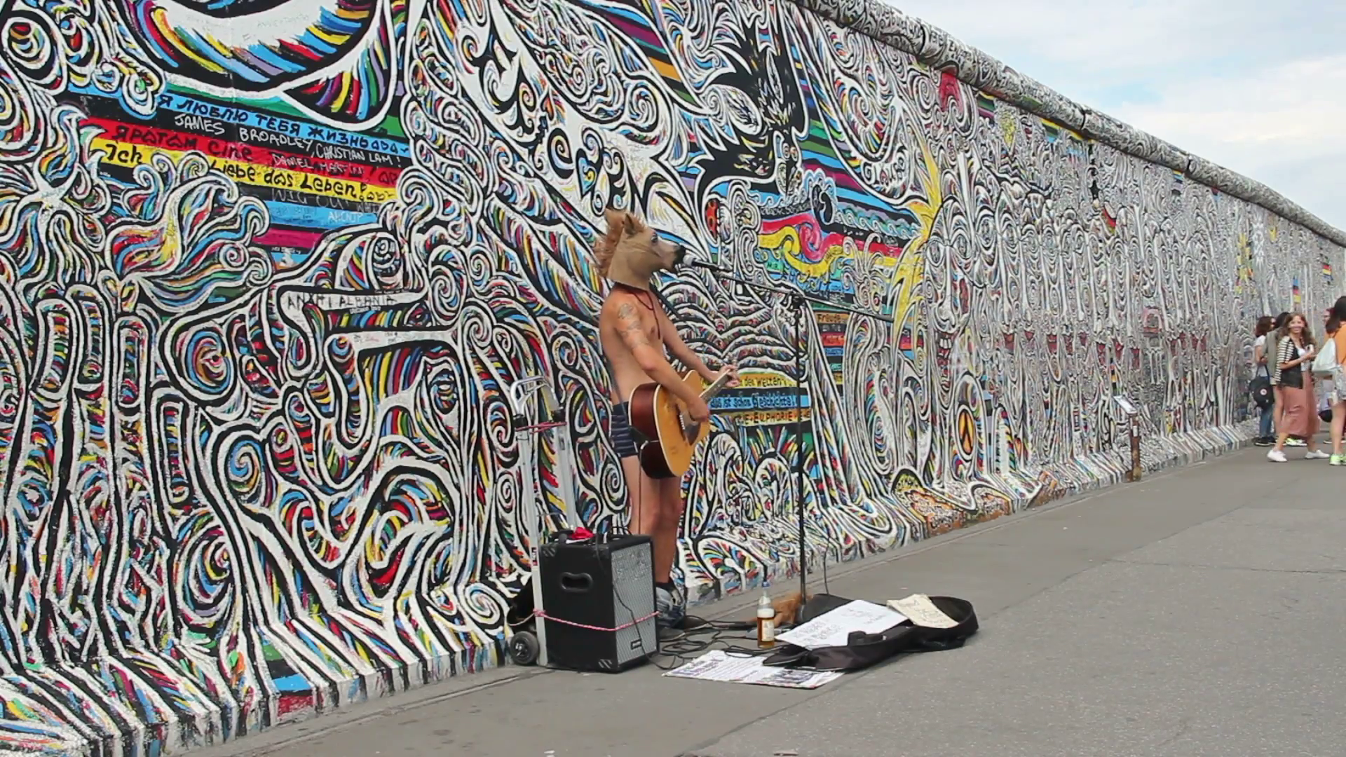 Man with horse head is playing guitar at the Berlin Wall, Germany Stock  Video Footage - VideoBlocks - Berlin Wall PNG