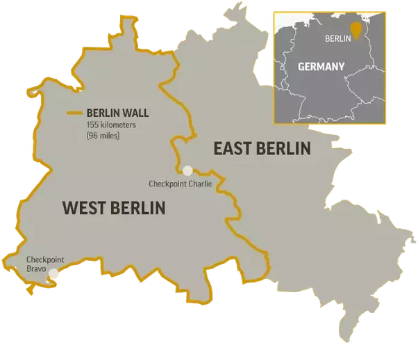 Now, Berlin, the capital city of Germany was in the East Germany, but again  it was divided into west and east Berlin parts. (See the map) - Berlin Wall PNG