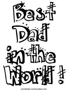 Best Dad in the World Free Coloring Sheet Best Dad Ever 225x300 - Best Dad PNG