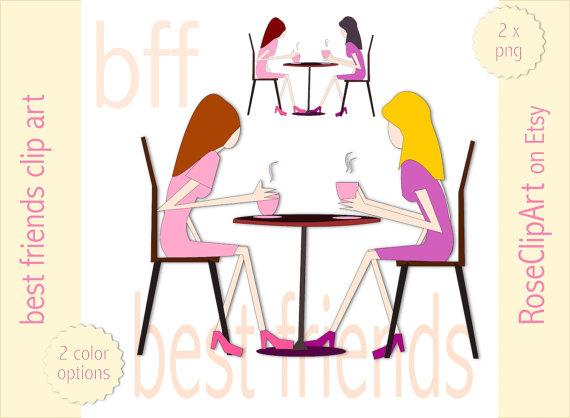 Freundinnen beim Kaffee Clipart - Instant Download - kommerzielle Nutzung  erlaubt - Freundinnen png - beste Freundin Clipart - rosa, lila - Beste Freundin PNG