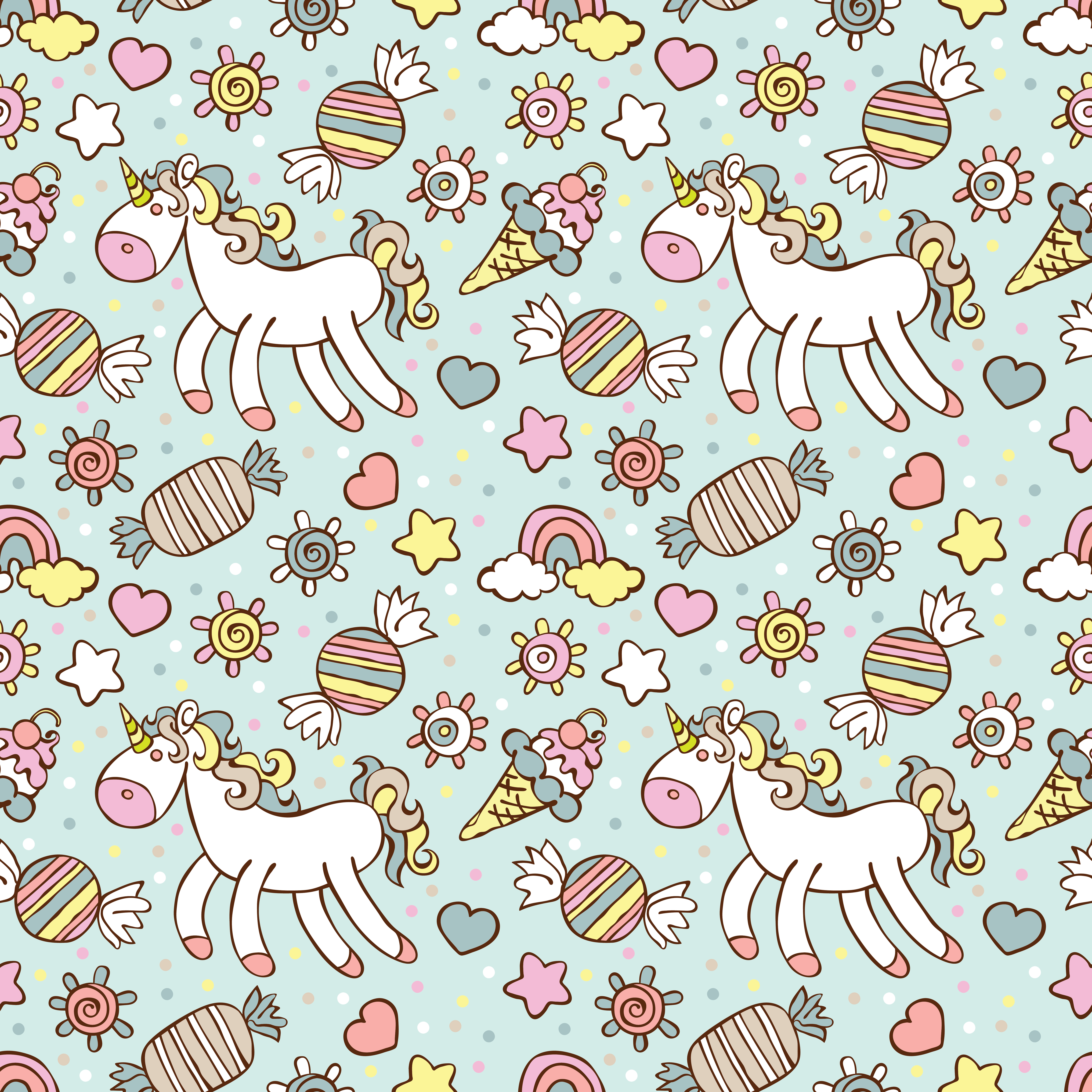 Ice cream, candy. Rainbow and cloud. Sprockets, hearts and circles - Betty Ice Vector PNG
