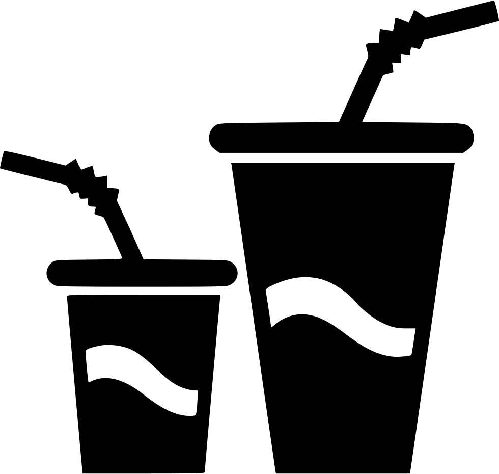 Small Big Paper Cups Drink Water Soda Comments - Big And Small PNG Black And White