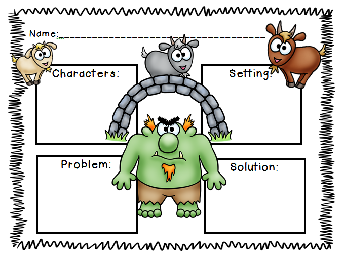 3 billy goats gruff story elements.PNG (677× - Billy Goat Gruff PNG