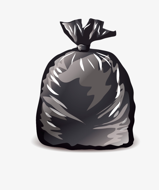 black garbage bags, Black, Cartoon, Hand Painted PNG and Vector - Bin Bag PNG