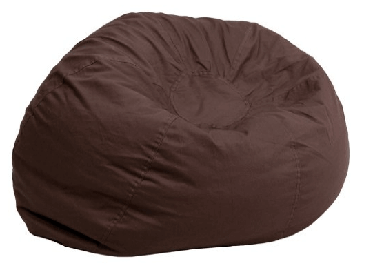 Oversized Solid Brown Bean Bag Chair - Bin Bag PNG