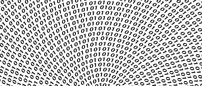 spiral binary code radial from central point in black writing on white  background - Binary Code PNG