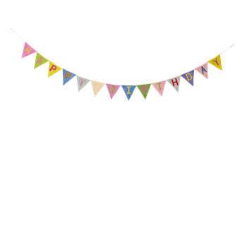 Raffia Happy Birthday Flag Garland - Birthday Flag PNG