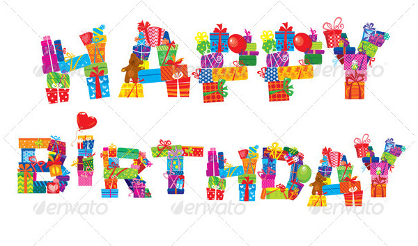 happy birthday with gift letter birthday png hd animated