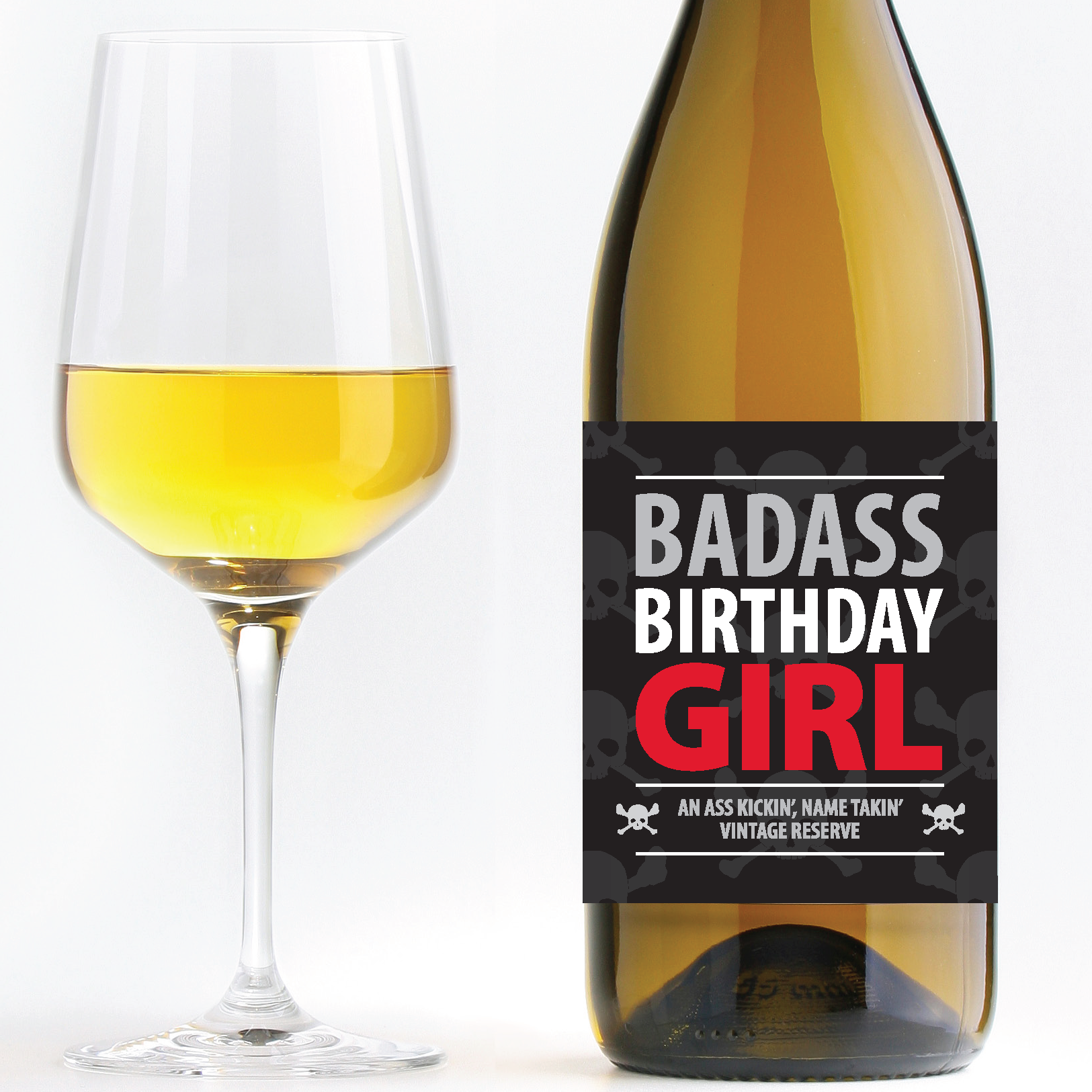 Badass Birthday Girl u2013 Birthday Wine PlusPng.com  - Birthday Wine PNG