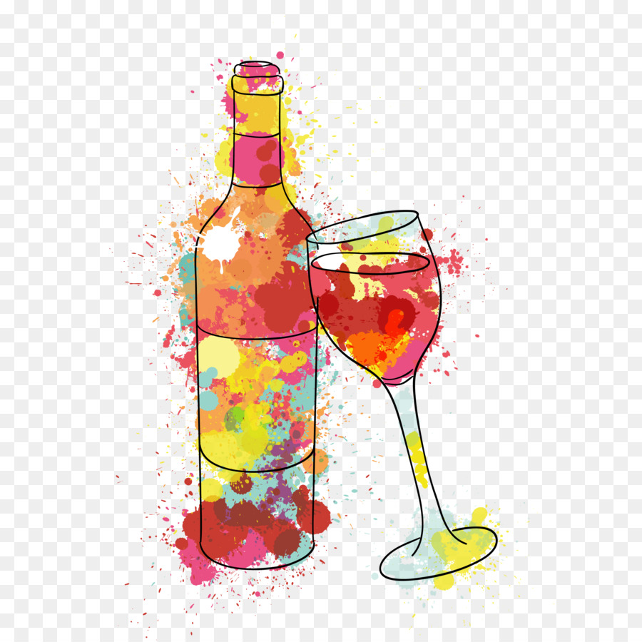 Birthday Wish Wine Name day Happiness - Painted wine and water glasses  vector - Birthday Wine PNG