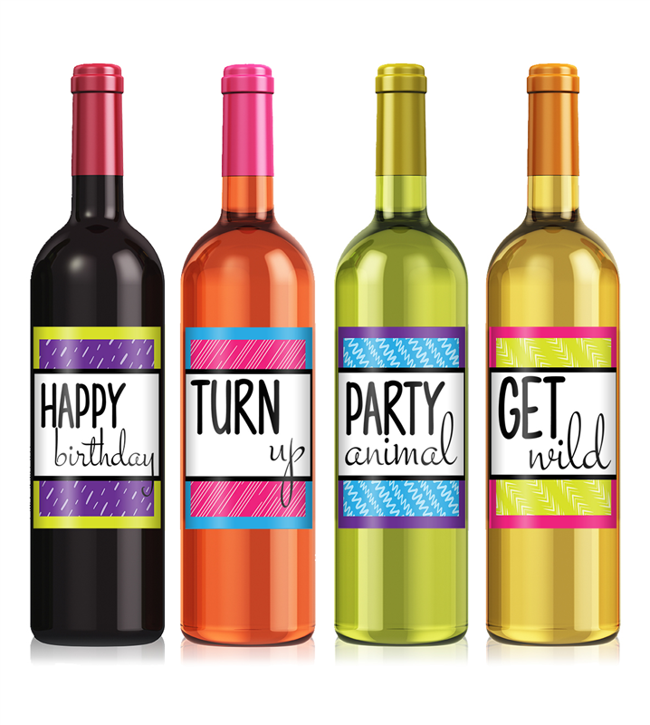 Colorful Birthday Wine Label Set - Birthday Wine PNG