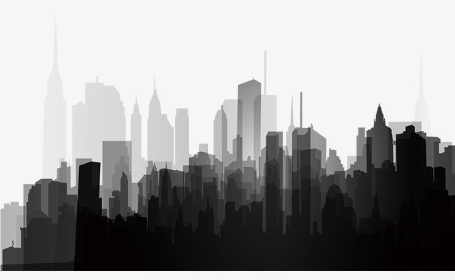 black and white city silhouette, Black And White, City, Silhouette PNG  Image and - Black And White City PNG