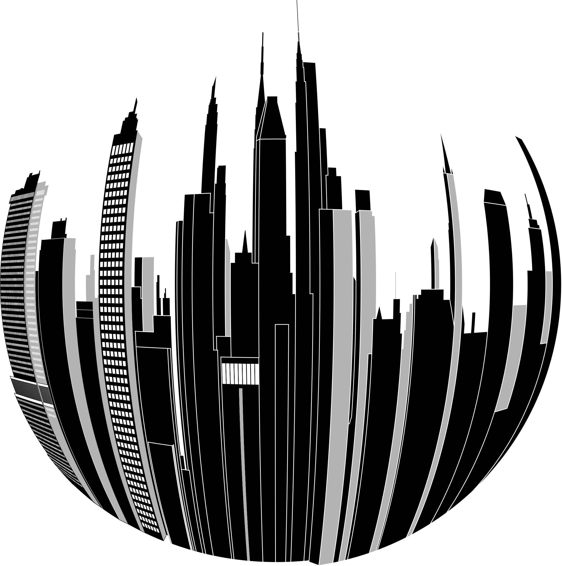 This free Icons Png design of Distorted City Skyline 2 PlusPng.com  - Black And White City PNG