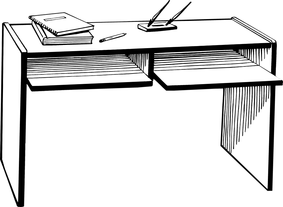 Black And White Desk PNG