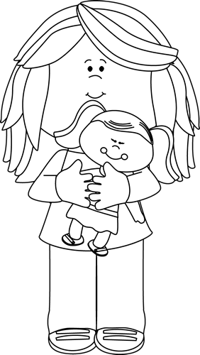 Black and White Black and White Little Girl Holding a Doll - Black And White Doll PNG