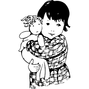 Girl Holding Doll 3 clipart, cliparts of Girl Holding Doll 3 free . - Black And White Doll PNG