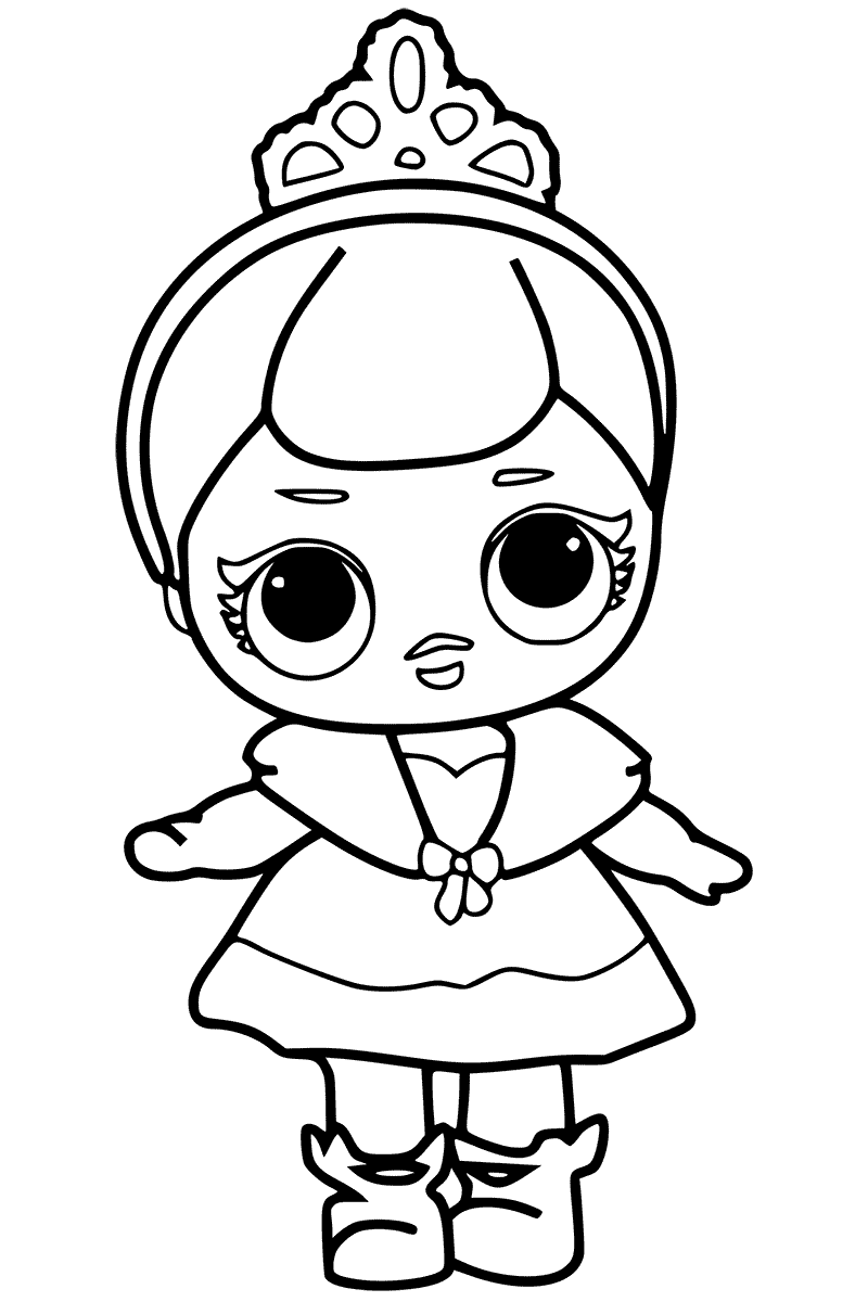 LOL Surprise Doll Coloring Pages Crystal Doll - Black And White Doll PNG