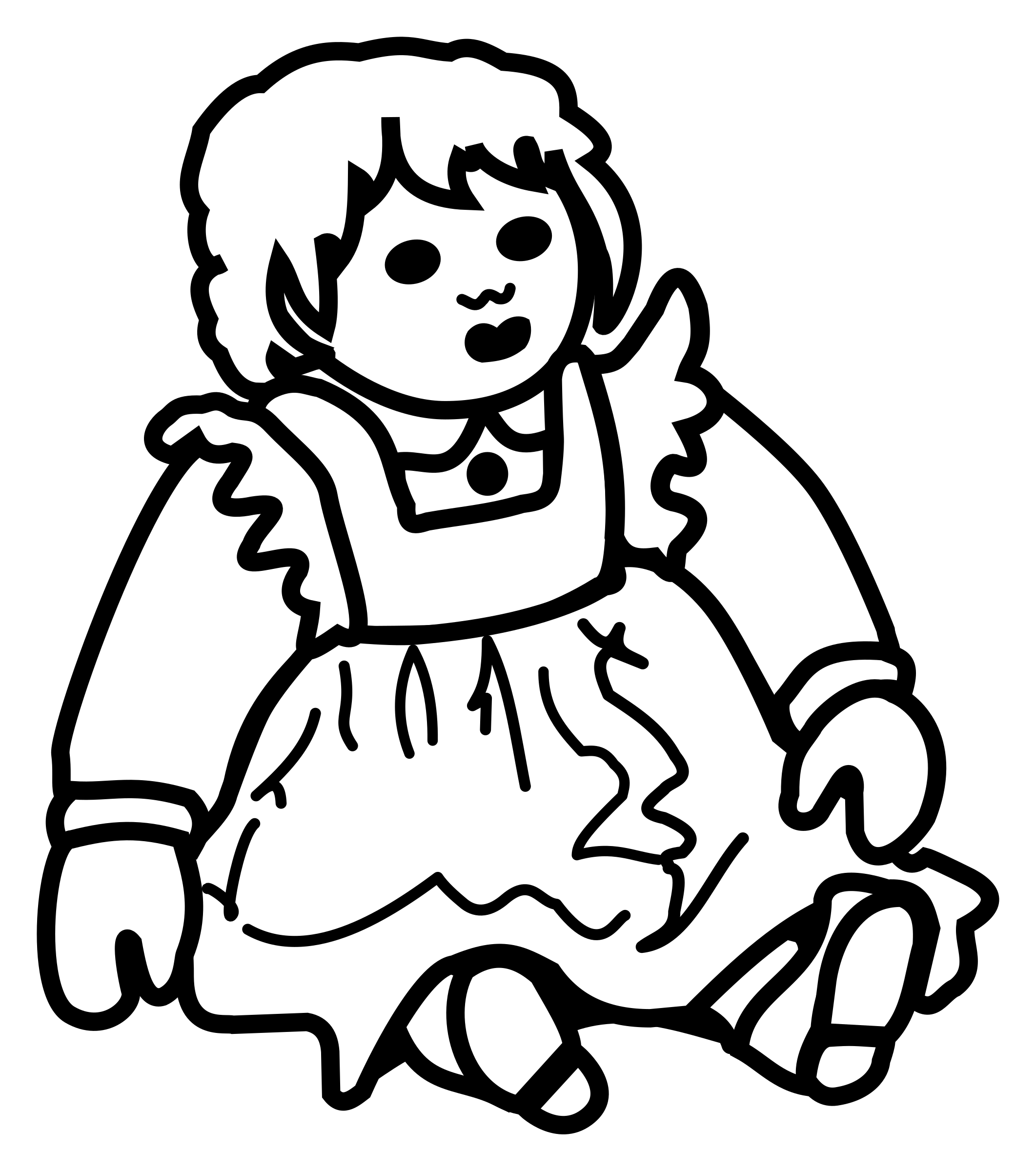This free Icons Png design of doll - lineart PlusPng.com  - Black And White Doll PNG