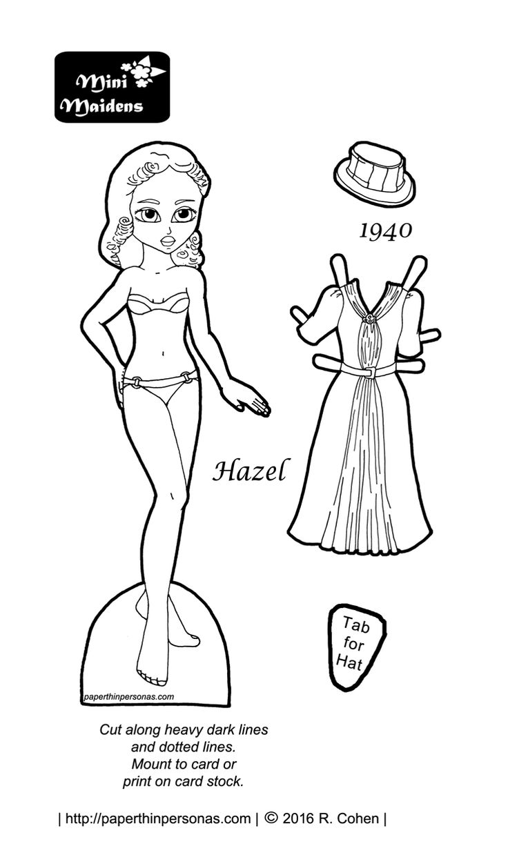 Vintage Mini Maiden: Hazel visits the by Rachel Cohen of ) - Black And White Doll PNG