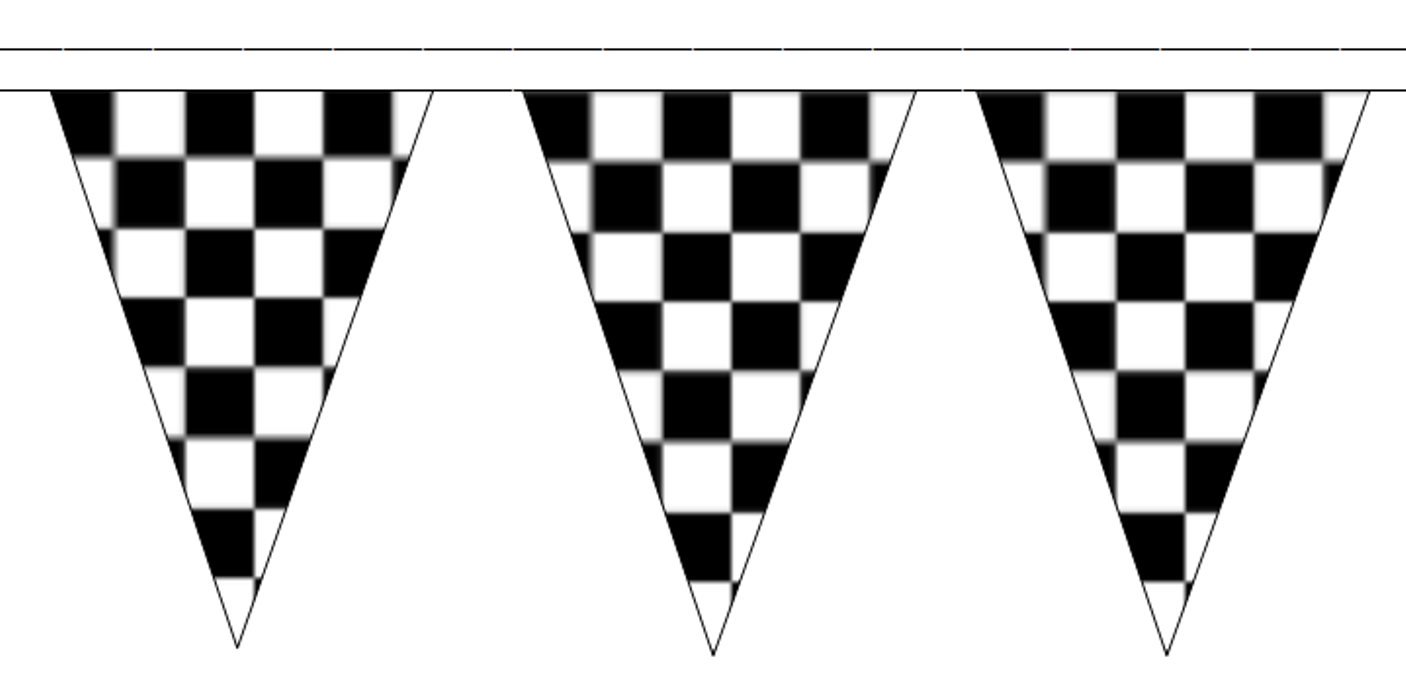 Black and White Check Traditional 20m 50 Flag Polyester Triangle Flag  Bunting - Black And White Flag PNG