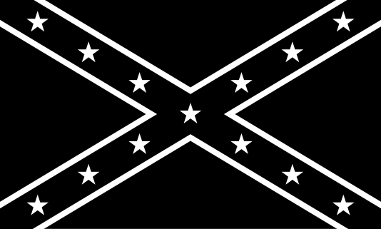 Black/White Confederate Flag - Black And White Flag PNG