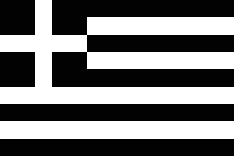 File:Greek flag variation black-white.png - Black And White Flag PNG