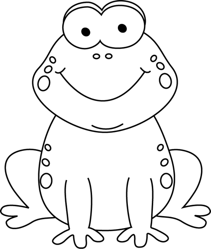 Black and White Cartoon Frog Clip Art - Black And White Frog PNG