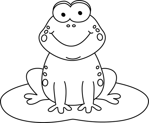 Black and White Cartoon Frog on a Lily Pad - Black And White Frog PNG