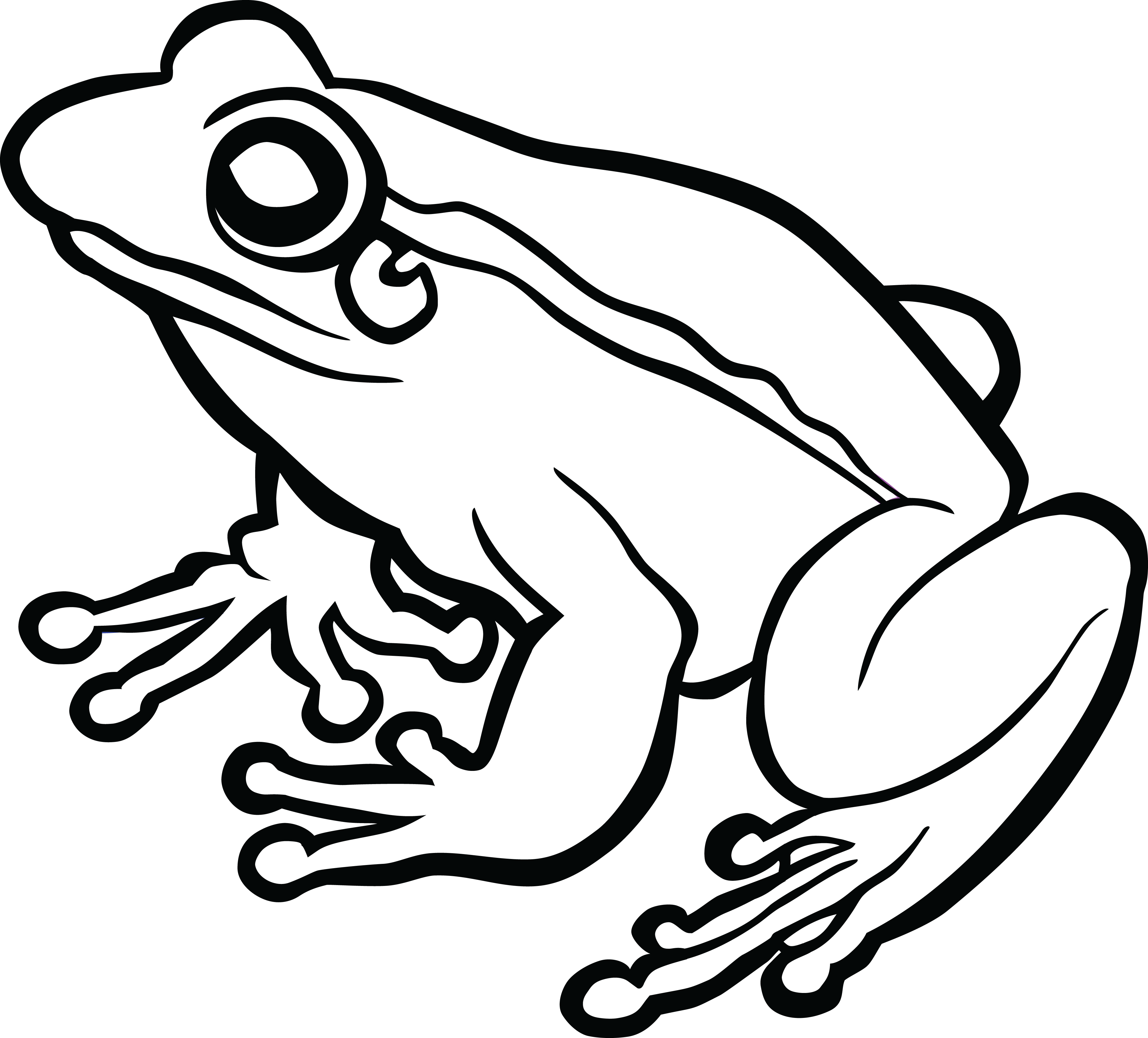 Free Clipart Of A frog #00011510 . - Black And White Frog PNG