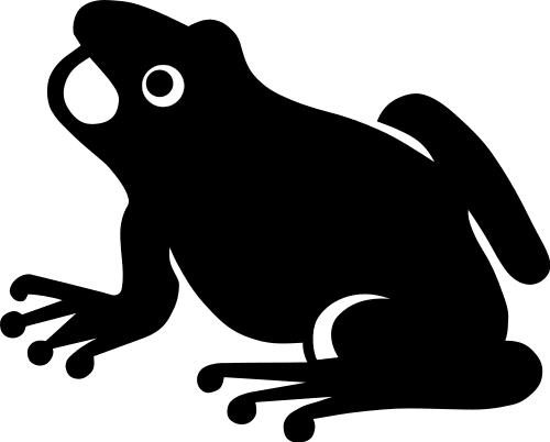 frog silhouette - Black And White Frog PNG