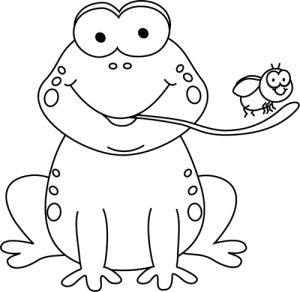 Frog Eating Clipart - Black And White Frog PNG