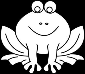 Frog Outline Clip Art - Black And White Frog PNG